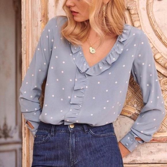 Sézane silk polka dot Capucine blouse